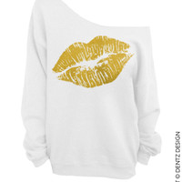 Lipstick Kiss Lips -  White with Gold Slouchy Oversized Sweatshirt