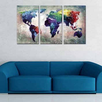 3 Panles Abstract Color Map Canvas Paintings World Map Pictures Prints On Canvas Wall Art For Home Decor (wooden framed)