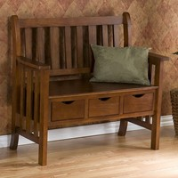 3-Drawer Country Bench (Brown)