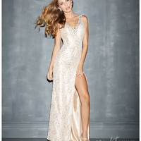 Night Moves by Allure 2014 Prom Dresses - Nude Lace Low Back Prom Gown
