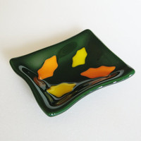 Fall Leaves Fused Glass Trinket Dish - Tea Bag Rest - Ring Dish - Tea Bag Holder - Decorative Plate - Spoon Rest - Sauce Dish - Autumn Decor
