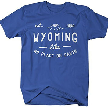 Shirts By Sarah Men's Wyoming State Slogan Shirt Like No Place On Earth T-Shirt Est. 1890