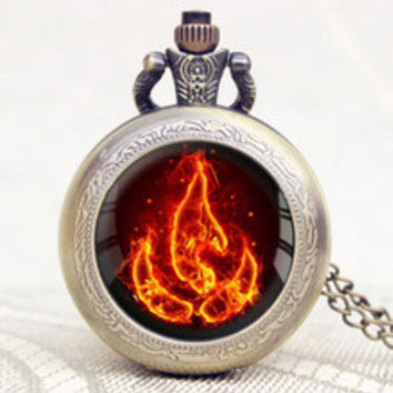 New Design Pocket Watch Avatar the Last Airbender Fire Firebending High Grade Chain Necklace Men Cool Gift