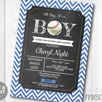 Boy Baby Shower Invitation Baseball Sports INSTANT DOWNLOAD It's a Couples Blue Ball Personalize Digital Party Invites Editable & Printable