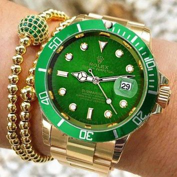 Rolex Submariner Ladies Men WatchStainless Steel Watch Green Gold