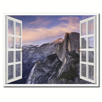 Half Dome Yosemite National Park Picture French Window Framed Canvas Print Home Decor Wall Art Collection