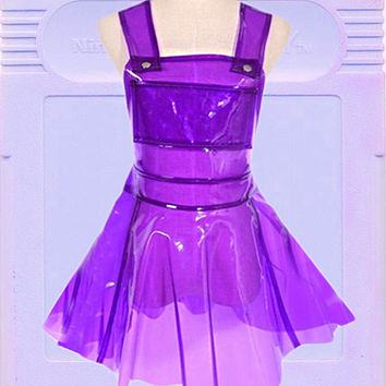 Neon purple transparent suspended Hologram Holo galaxy Sparkle Flare Skater Skate Dress Rave Festival skirt Dress