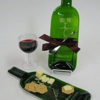 Cheese Tray made from a Melted Bottle of Root:1 Cabernet Sauvignon- Upcycled / Recycled Glass