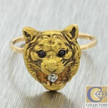 1890s antique victorian 14k solid gold diamond ruby lion cat jaguar puma ring  number 1