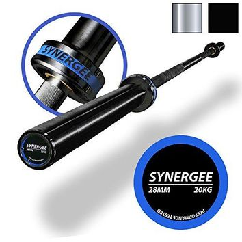 Synergee Olympic 20kg Men's and 15kg Women's Hard Chrome & Black Phosphate Barbells. Rated 1500lbs for Weightlifting, Powerlifting and CrossFit