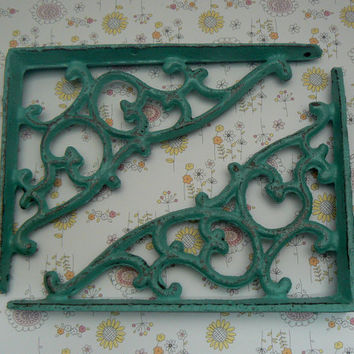 Wall Bracket Cast Iron Shelf Ornate Brace Turquoise Aqua Cottage Chic Decorative Distressed Shabby Chic 1 Pair (2 individual brackets)
