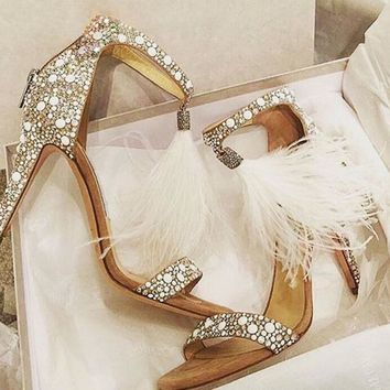 Elegant White Pearl Open Toe Sandals White Feather Fringe High Heels Ankle Strap Shoes