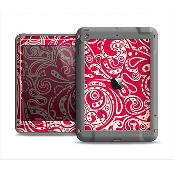 The Red Floral Paisley Pattern Apple iPad Mini LifeProof Nuud Case Skin Set