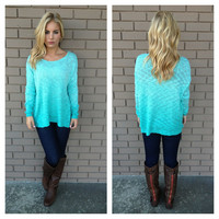 Mint Ombre Long Sleeve Knit Sweater