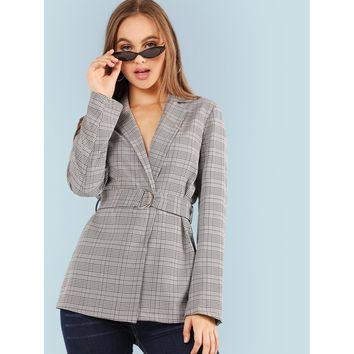 Notched Neck Belted Plaid Blazer