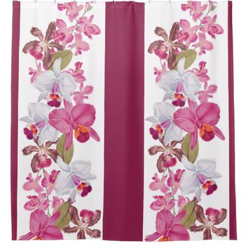 Vintage Botanical Orchid Flowers Floral Island Shower Curtain