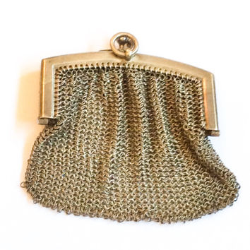 French Silver Mesh Purse, European Silver, Art Deco Vintage Accessories