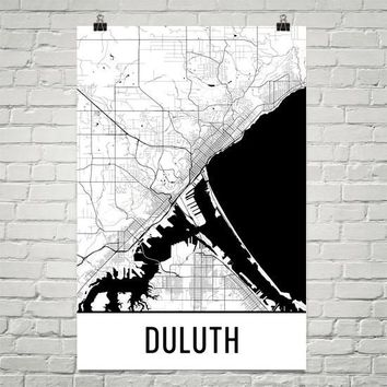 Duluth MN Street Map Poster