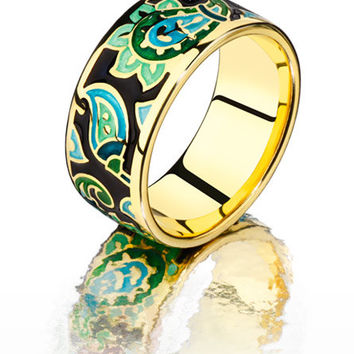 paisley ring blue ring black enamel jewelry gilded ring green enamel ring handmade jewelry gifts for her