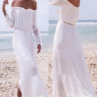 Maternity Dress White Off Shoulder  Boho Style Dress   CCO41