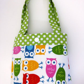 Toddler tote little girl purse owl tote pink tote blue purse little girl birthday gift toddler gift tot tote water resistant lining