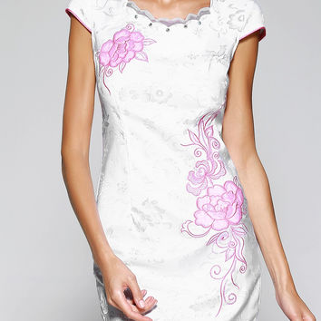 Chinoiserie Wavy Hem Sequined Jacquard  Dress