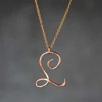 Personalized intial monogram L textured copper pendant necklace Bridesmaids gifts Free US Shipping handmade Anni Designs