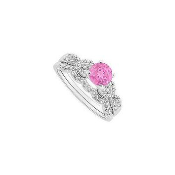 Pink Sapphire and Diamond Engagement Ring with Wedding Band Set : 14K White Gold - 0.90 CT TGW