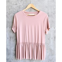 dreamers - dainty peplum top - pink