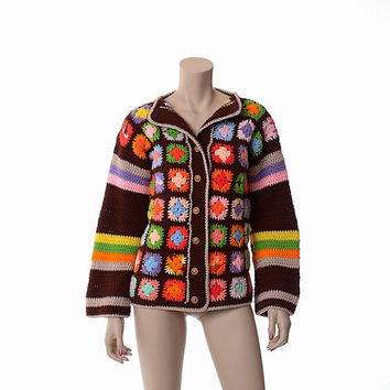Vintage 60s 70s Crochet Granny Square Sweater 1960s 1970s Rainbow Color Hipster Boho Acrylic Knit Hippie Cardigan Jacket