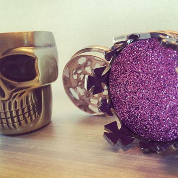 Herb Metal Crown King Skull Grinder - Custom Weed & Herb Grinder - Tabacoo Grinder - Smoke Friendly Custom Purple Grinder