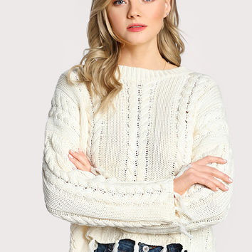 Frayed Cable Knit Sweater IVORY -SheIn(Sheinside)