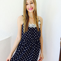 Polka Dress- Navy