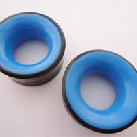 Blue Inlay Horn Tunnels (2 gauge - 1 & 1/4 inch)
