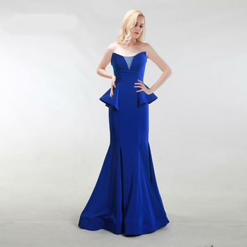 Formal Evening Dresses Mermaid Long Sweetheart Sleeveless Floor-Length Party Dresses Prom Gowns Blue Pink