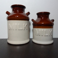 Vintage Set of 2 Ceramic Old Milk Can Shaped Jars - Rustic Farmhouse Pottery, Containers, and Decor