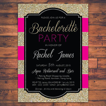 PRINTABLE Bachelorette Party Invitation Card Hen Party Faux Gold Glitter Sparkle Fun Invite Card Personalized DIY Digital Print