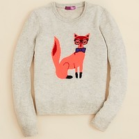 Aqua Girls' Fox Intarsia Cashmere Sweater - Sizes S-XL | Bloomingdale's