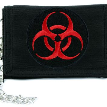 Toxic Red Biohazard Sign Tri-fold Wallet Horror Clothing Zombie Apocalypse