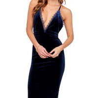 Velvet Lace Spaghetti Strap V-neck Backless Midi Bodycon Dress