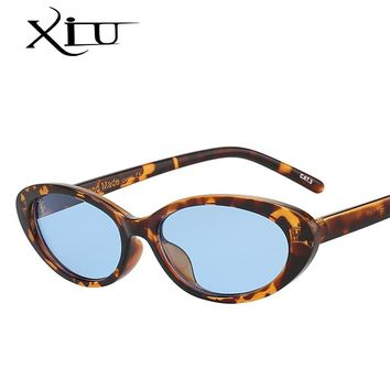 XIU Oval Shades Sunglasses Women Brand Designer Small Frame Pink Lens Sunglasses Vintage Fashion Glasses Female Oculos