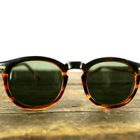 vintage round tortoise & black dipped hipster sunglasses