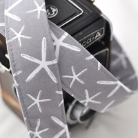 SLR Digital Camera Strap  Grey Starfish  by SweetStrapExpress