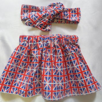Baby's Skirt and Headwrap Union Jack British Flag Print Baby Girls Clothes *NEW
