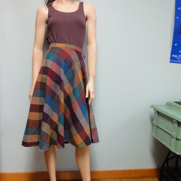 Vintage 70s Wool Skirt, Large Diagonal Check Plaid in Autumn Colors by Daniel Place Waist 25 Petite School Girl