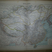 Antique French  Map of the Chinese Empire - 1891 Large Map of China 18 by 14 inches