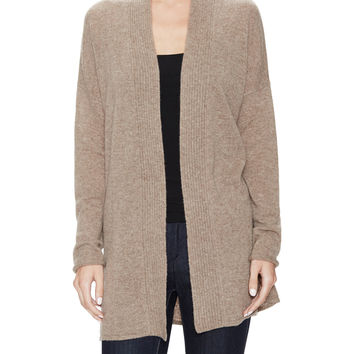 Qi Cashmere Women's Ribbed Front Cashmere Cardigan - Cream/Tan -