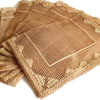 Vintage 1950's Placemats, Open Work Crochet, Tan, Set of 8, Home Decor, Table Mats, Handmade
