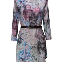 'The Cristine' Printed Round Neck Dress With Belt