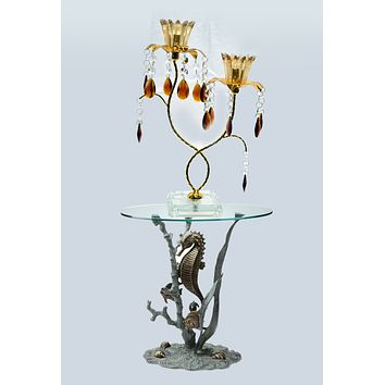 "Vintage 14"" 2-light Gold Metal Candelabra Wedding Centerpiece Candle Holder"